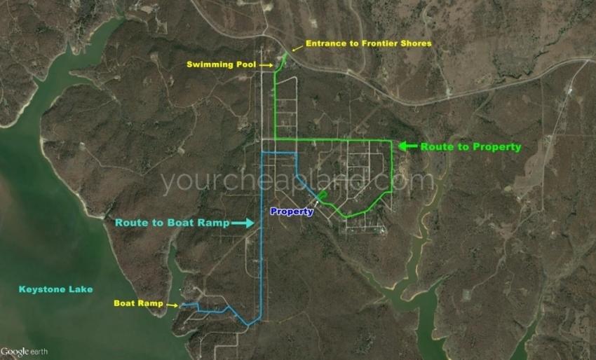 Frontier Shores, residential property near Keystone Lake Oklahoma, Boat ramp, lake front property